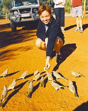 Gabriel feeding the birds