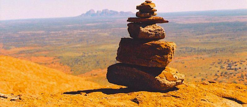 Rock Art - Olgas in background
